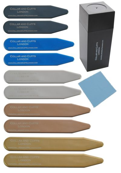 "10 Metal Shirt Collar Stiffeners - 5 COLOURS, 5 SIZES - 2"" 2.2"" 2.35"" 2.5"" 2.8"" - Silver Black Gold Blue Rose Gold Colours - High Quality - With Plastic Storage Box - Five Pairs of Collar Bones"