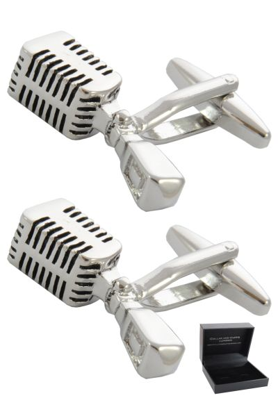 PREMIUM Cufflinks WITH PRESENTATION GIFT BOX - High Quality - Retro Microphone - Music Singer Singing Musician DJ Recording Artist - Silver Colour