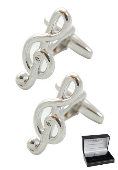 PREMIUM Cufflinks WITH PRESENTATION GIFT BOX - High Quality - Treble Clef Musical - Solid Brass - Music Teacher Singer Player Violin Piano Instrument DJ - Silver Colour
