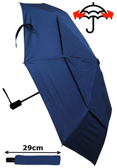 Windproof - COMPACT YET STRONG - Reinforced Frame With Fiberglass - StormProtector Small Folding Umbrella - Vented Double Canopy Regulates Gusts - Auto Open & Close Navy Blue