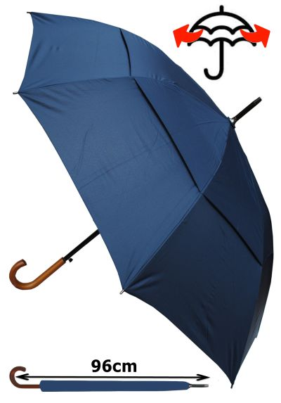Windproof EXTRA STRONG - StormDefender City Umbrella - Vented Double Canopy - HIGHLY ENGINEERED TO COMBAT INVERSION DAMAGE - Auto Open - Solid Wood Hook Handle - Navy Blue