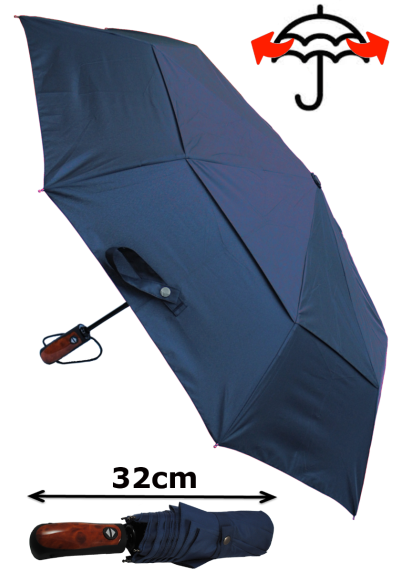 Windproof 50mph StormDefender - Reinforced Fiberglass Frame - Vented Canopy - Strong Compact Small Folding Waterproof Umbrella - Auto Open and Close - Navy Blue