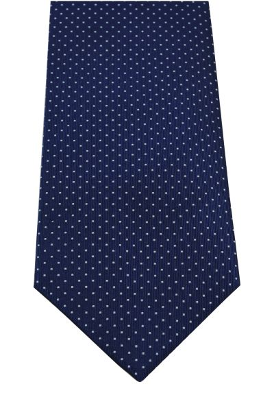 HIGH QUALITY Handmade Woven Tie - 100% Pure Silk - A Timeless Classic - Navy Blue With White Dots