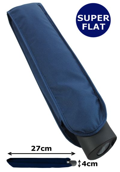 4cm ULTRA FLAT YET STRONG - Windproof Umbrella - Reinforced Frame With Fiberglass - Auto Open AND Close - StormDefender Flat - Small Compact Folding Travel - Navy Blue