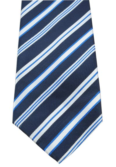 HIGH QUALITY Handmade Tie - Striped - A True Classic - Navy Blue Multi Stripes