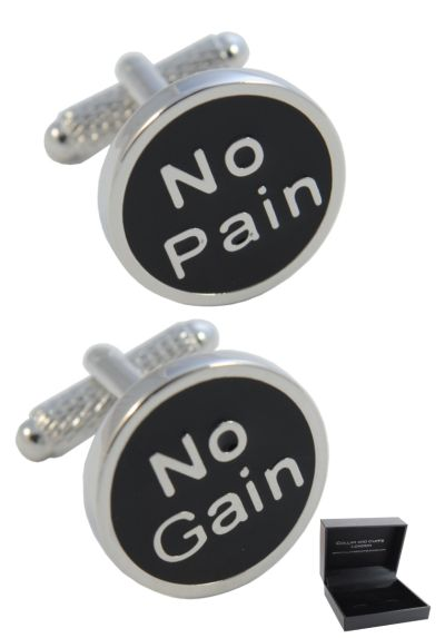 PREMIUM Cufflinks WITH PRESENTATION GIFT BOX - High Quality - No Pain No Gain - Brass - Sport Workout Gym Running - Silver and Black Colours