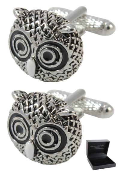 PREMIUM Cufflinks WITH PRESENTATION GIFT BOX - High Quality - Owl Head - Brass - Animal Bird Wisdom - Silver Black and White Colours