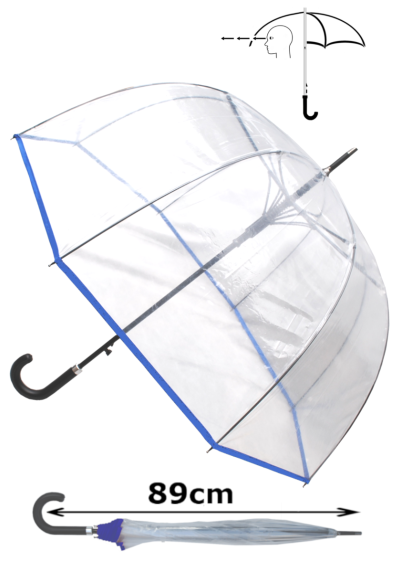 Rare Automatic - Extra Strong Windproof - StormDefender Panoramic - Dome Umbrella - Highly Engineered to Combat Inversion Damage - Fiberglass Ribs - Blue Trim Canopy - Clear