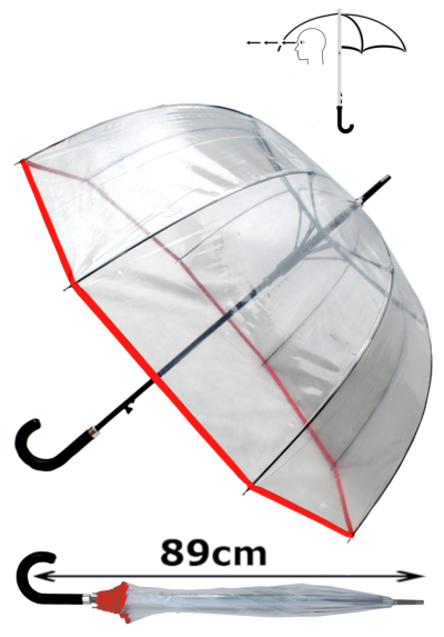 Rare Automatic - Extra Strong Windproof - StormDefender Panoramic - Dome Umbrella - Highly Engineered to Combat Inversion Damage - Fiberglass Ribs - Red Trim Canopy - Clear