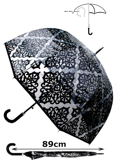 Rare Automatic - Extra Strong Windproof - StormDefender Panoramic - Patterned Dome Umbrella - Engineered to Fight Inversion Damage - Fiberglass Ribs - Black Trim Canopy Clear