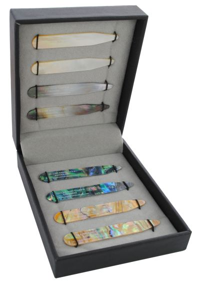 """8 Shirt Collar Stiffeners - 4 MOTHER OF PEARL DESIGNS - 2.35"""" - Green Brown Gold and Black Colours - High Quality - With Luxury Presentation Gift Box - Four Pairs of Shirt Stays"""