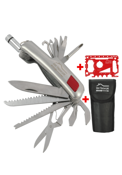 DIY TECH UK - 15 in 1 Pocket Multi Tool + Free 48 in 1 Wallet Multi Tool - Extra Strong High Carbon Stainless Steel - Bottle Opener, Tin Opener, Knife, Saw, Screwdrivers, Scissors, Torch - Mini Multi Tool - With Pouch