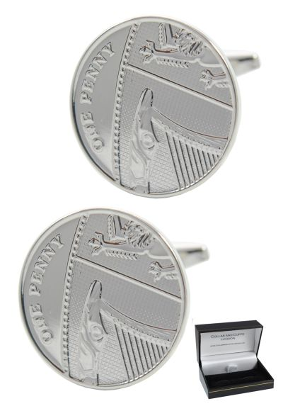 PREMIUM Cufflinks WITH PRESENTATION GIFT BOX - High Quality - Lucky Penny - British 1p Round Tails Coin Classic Design - Silver Colour