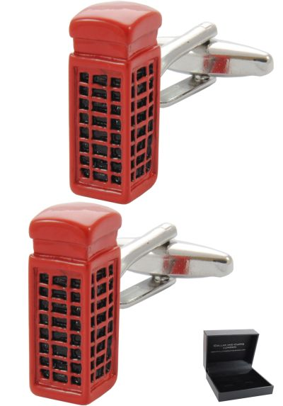 PREMIUM Cufflinks WITH PRESENTATION GIFT BOX - High Quality - London Telephone Box - Phone England British Kiosk Crown - Red Colour