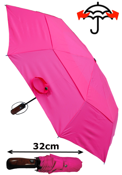 Windproof 50mph StormDefender - Reinforced Fiberglass Frame - Vented Canopy - Strong Compact Small Folding Waterproof Umbrella - Auto Open and Close - Hot Pink