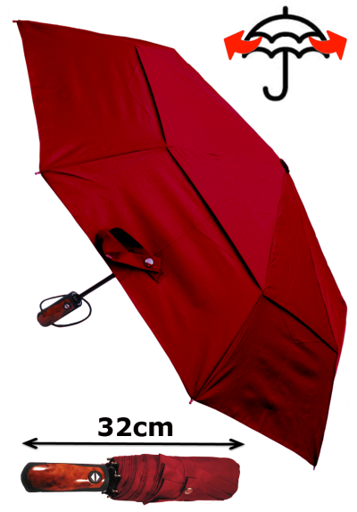 Windproof 50mph StormDefender - Reinforced Fiberglass Frame - Vented Canopy - Strong Compact Small Folding Waterproof Umbrella - Auto Open and Close - Burgundy Red