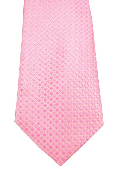 HIGH QUALITY Handmade Tie - A Colourful Twin Square Pattern - Salmon Pink and Rose Pink