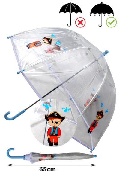 Cool Pirate Dome Kids Umbrella - Strong Windproof Panoramic Design - Fiberglass Ribs - Children Safe Tips - White Trim Canopy - Blue Handle and Tips - Clear