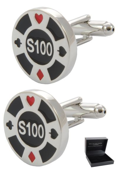 PREMIUM Cufflinks WITH PRESENTATION GIFT BOX - High Quality - Casino Chip - Games Betting Poker Token Disc Round - Silver Black and Red Colours