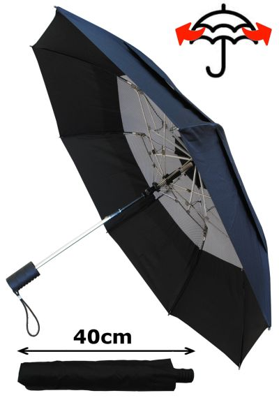 RARE 2-Fold Reinforced HARDENED STEEL Windproof 80KPH EXTRA STRONG Design - Twin Rail Ribs - Vented Double Canopy Regulates Gusts - Auto Open Bi-Fold Umbrella - Black