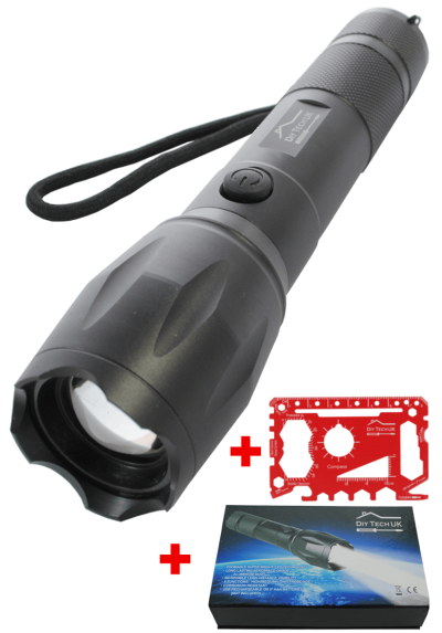 DIY TECH UK - IncrediBeam Pro RECHARGEABLE 17cm Pocket Torch + FREE 48 IN 1 WALLET TOOL - Latest Super-Bright LED - 300m Long Range With Battery - Zoomable - 5 Functions - Aerospace Grade Aluminium