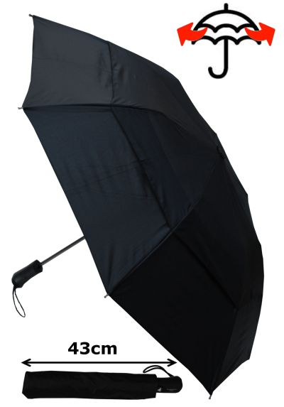 RARE 2-Fold EXTRA STRONG Windproof 80KPH Design - Reinforced Frame With Fiberglass - Twin Ribs - StormDefender Bi-Fold Umbrella - Double Canopy Regulates Gusts - Auto Black