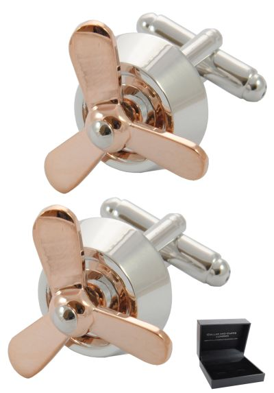 PREMIUM Cufflinks WITH PRESENTATION GIFT BOX - High Quality - Moving Aircraft Propellers Plane - 18k Gold Plated - Silver and Gold Colours