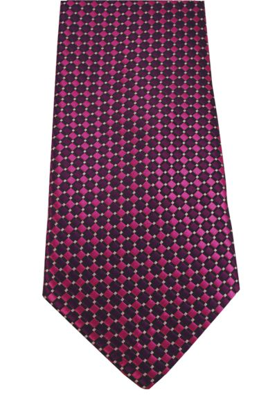 HIGH QUALITY Handmade Tie - A Colourful Twin Square Pattern - Purple and Pink