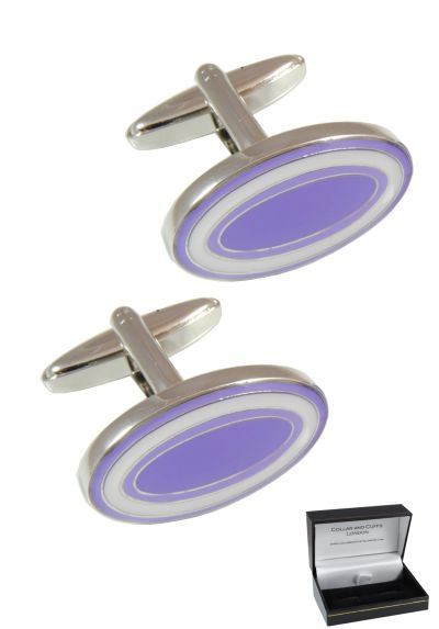 PREMIUM Cufflinks WITH PRESENTATION GIFT BOX - High Quality - Dual Colour Oval - Solid Brass - Classic Style - Purple and White Colours