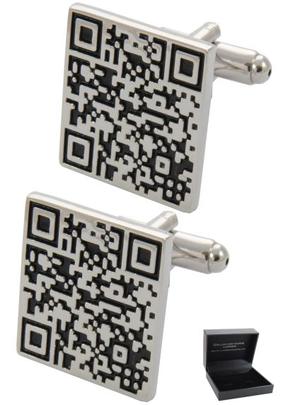 PREMIUM Cufflinks WITH PRESENTATION GIFT BOX - High Quality - QR Code - Barcode Scan App Shopping Square - Silver and Black Colours