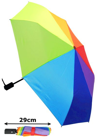 WINDPROOF WeatherShield Compact Folding Umbrella - HIGHLY ENGINEERED TO COMBAT INVERSION DAMAGE - Automatic Open Close - Small Colourful - Strong - Travel - Rainbow Canopy