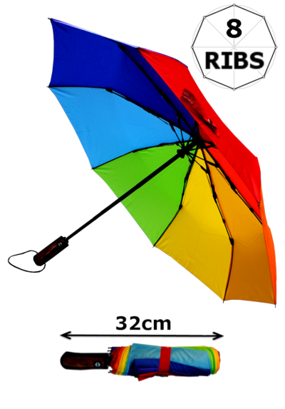 Windproof StormDefender Rainbow Compact Umbrella - Small Yet Strong - Fiberglass Frame Folding Umbrella - Auto Open and Close - Ergonomic Handle - Multicoloured Canopy