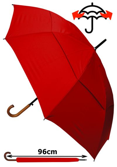 Windproof EXTRA STRONG - StormDefender City Umbrella - Vented Double Canopy - HIGHLY ENGINEERED TO COMBAT INVERSION DAMAGE - Auto Open - Solid Wood Hook Handle - Red Wedding