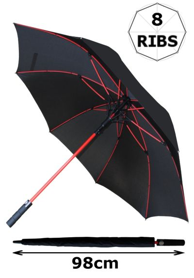 60MPH Windproof Umbrella EXTRA STRONG - StormFighter Jumbo Golf Umbrella - Red Reinforced Fiberglass Frame - For 1 or 2 Persons - Automatic Umbrella - Non Slip Handle - Large Umbrella