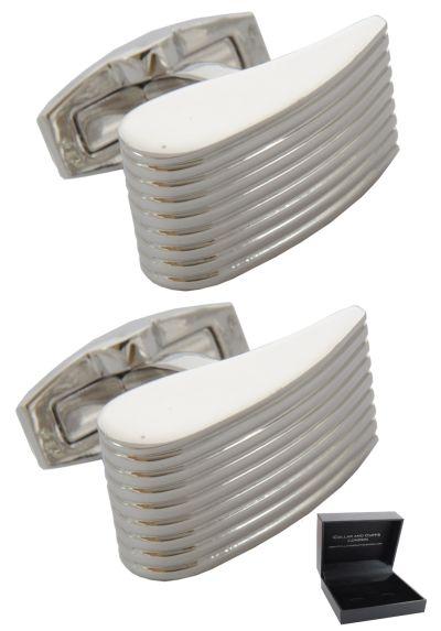 PREMIUM Cufflinks WITH PRESENTATION GIFT BOX - High Quality - Ridged Silver Wedge - Elegant Classic Design - Silver Colour
