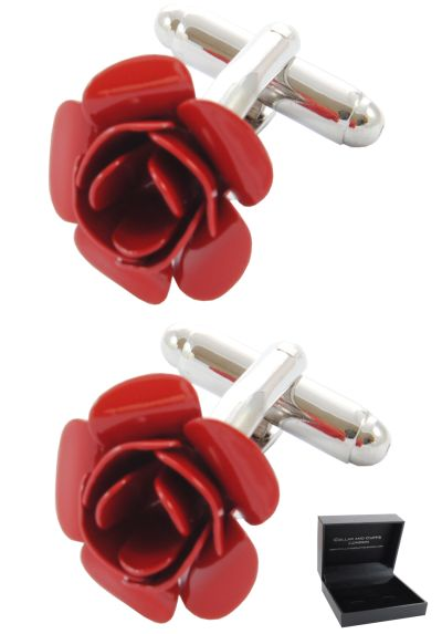 PREMIUM Cufflinks WITH PRESENTATION GIFT BOX - High Quality - Red Rose - Flower - Garden - Valentine Romance Love Lancaster Round