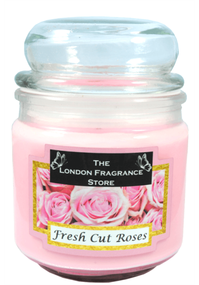 THE LONDON FRAGRANCE STORE - Luxury Scented Candle - Natural Soy Wax - Premium Quality Fragrance Oil - Medium Glass Jar - Fresh Cut Roses - Up to 75 Hours - Our Clever Wax Lasts Longer - Cotton Wick