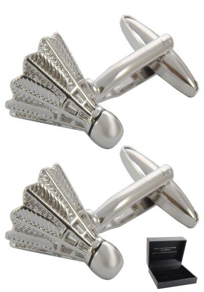 PREMIUM Cufflinks WITH PRESENTATION GIFT BOX - High Quality - Shuttle Cock Badminton Court - Racquet Sport - Silver Colour