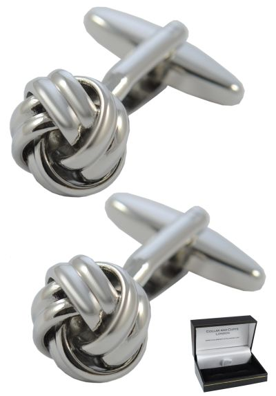 PREMIUM Cufflinks WITH PRESENTATION GIFT BOX - High Quality - Square Knot - Brass - Just 12mm In Diameter - Classic Round Design - Silver Colour
