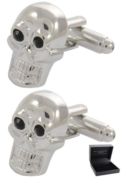PREMIUM Cufflinks WITH PRESENTATION GIFT BOX - High Quality - Skull - Gothic Face Head - Silver and Black Colours