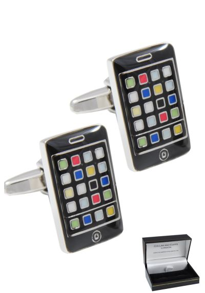PREMIUM Cufflinks WITH PRESENTATION GIFT BOX - High Quality - Smartphone - Solid Brass - Phone Mobile Modern Rectangle - Black Colour