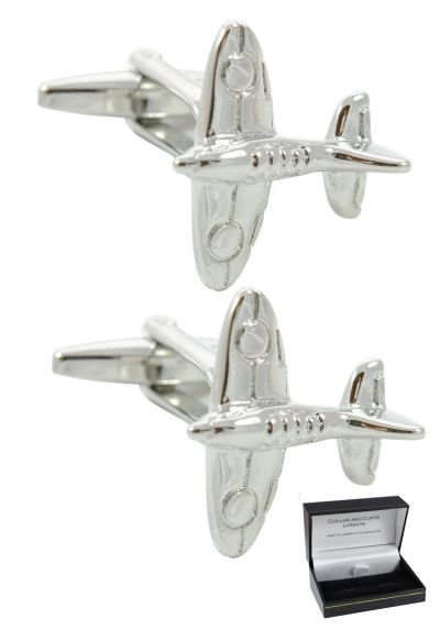 PREMIUM Cufflinks WITH PRESENTATION GIFT BOX - High Quality - Spitfire Aircraft - Solid Brass - Iconic Plane World War 2 Battle of Britain - RAF British - Silver Colour