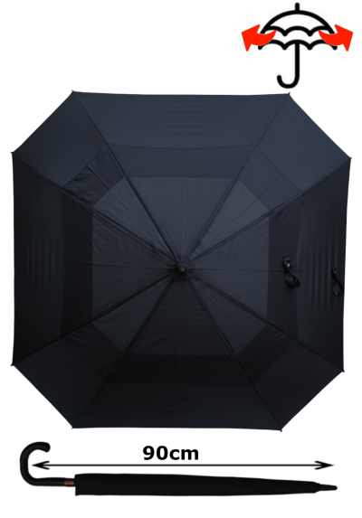 Windproof 60mph Extra Strong Square Umbrella - Reinforced Frame with Fiberglass - StormDefender - Vented Double Canopy Regulates Gusts - Auto Open - Black