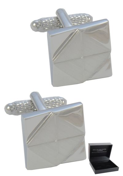 PREMIUM Cufflinks WITH PRESENTATION GIFT BOX - High Quality - Square with Inner Diamond Shape Design - Solid Brass - Geometric Pattern - Silver Colour