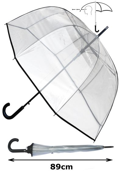 RARE Automatic - EXTRA STRONG Windproof - StormDefender Panoramic - Dome Umbrella - HIGHLY ENGINEERED TO COMBAT INVERSION DAMAGE - Fiberglass Ribs - Black Trim Canopy - Clear