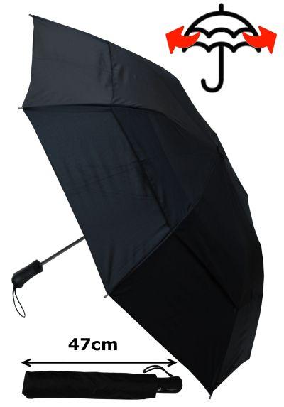 RARE 2-FOLD Windproof - 128cm Arc - EXTRA STRONG Design - Reinforced Frame With Fiberglass - Twin Rail Ribs - Best Umbrella For Bi-Fold Canopy Size - Double Canopy Regulates Gusts - Automatic Umbrella - Black Men's Umbrella