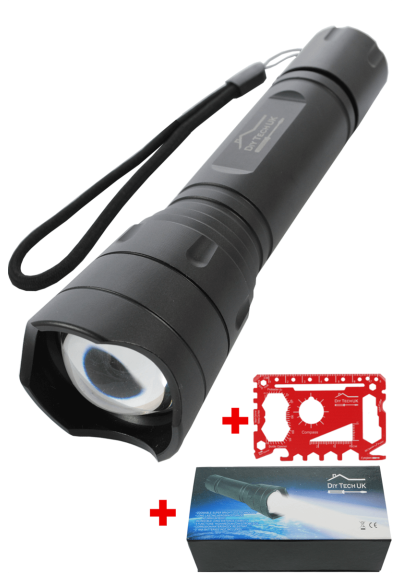 DIY TECH UK - IncrediBeam Supreme 15cm Pocket Torch + FREE 48 IN 1 WALLET TOOL - Latest Super-Bright LED - 300m Long Range - Zoomable - 5 Functions - Anti-Slip Aerospace Grade Aluminium Body Black