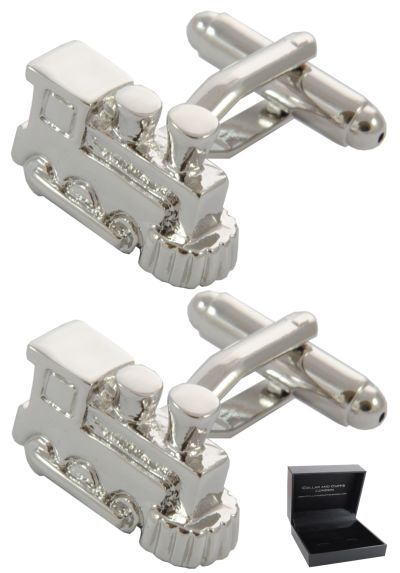 PREMIUM Cufflinks WITH PRESENTATION GIFT BOX - High Quality - Steam Train - Rail Railway Track Spotter Enthusiast Classic Bygone Era - Silver Colour
