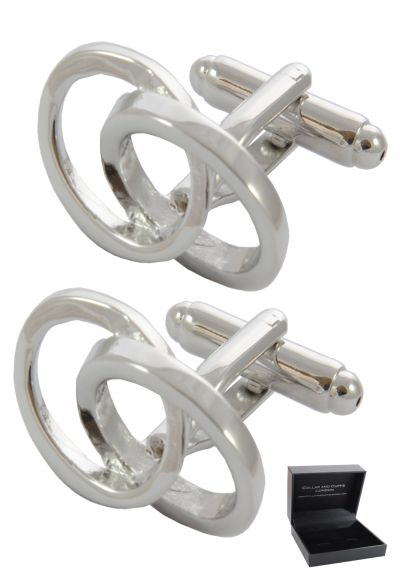 PREMIUM Cufflinks WITH PRESENTATION GIFT BOX - High Quality - Interlocking Ovals - Classic Infinity Design - Smooth Iconic Flow - Silver Colour