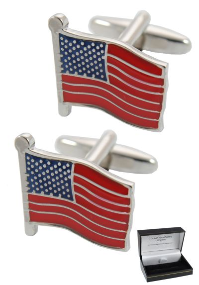 PREMIUM Cufflinks WITH PRESENTATION GIFT BOX - High Quality - Flag Of The United States Of America - The Stars and Stripes USA - Brass - Silver Blue and Red Colours